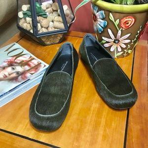 Banana Republic green calf hair loafers